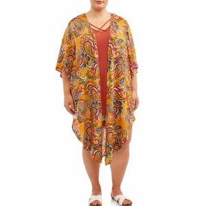 Terra & Sky Plus Printed 2 Pc set Kimono & Blouse